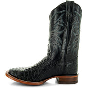 H4001 Mens Gator Print Square Toe Boots in Black Side
