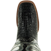 H4001 Mens Gator Print Square Toe Boots in Black  Front