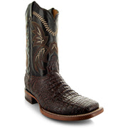 H4001 Mens Gator Print Square Toe Boots in Brown Angled