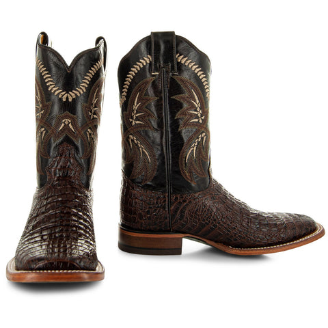 H4001 Mens Gator Print Square Toe Boots in Brown Main