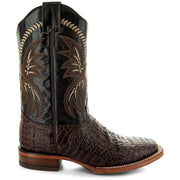 H4001 Mens Gator Print Square Toe Boots in Brown Side 2