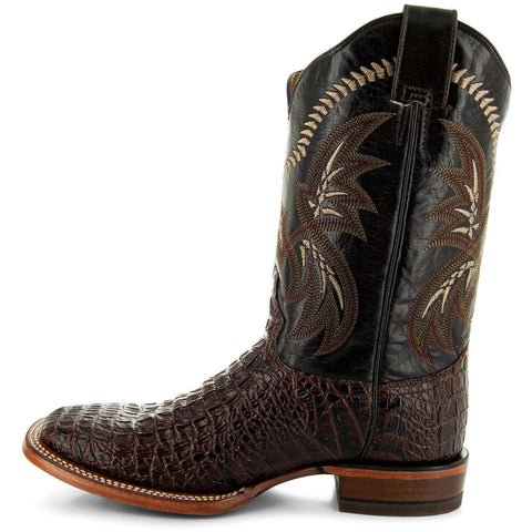 H4001 Mens Gator Print Square Toe Boots in Brown Side