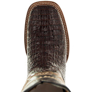H4001 Mens Gator Print Square Toe Boots in Brown Toe