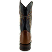 Brown Leather Square Toe Mens Cowboy Boots H4002 Back View