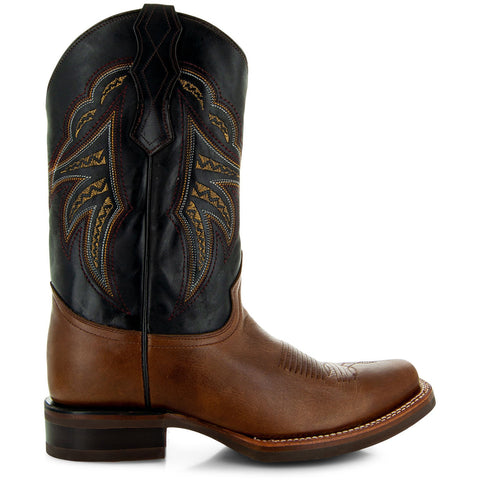Brown Leather Square Toe Mens Cowboy Boots H4002 Side View