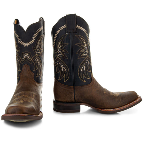 Tan Leather Square Toe Mens Cowboy Boots H4002
