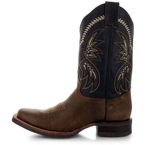 Tan Leather Square Toe Mens Cowboy Boots H4002 Side View