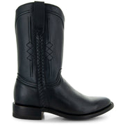 Black Roper Boots with Side Zipper Side View 2
