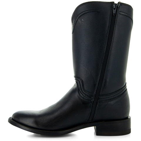 Black Roper Boots with Side Zipper Side View