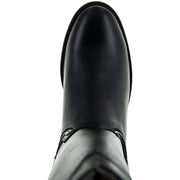 Black Roper Boots with Side Zipper Round Toe Boots Shape