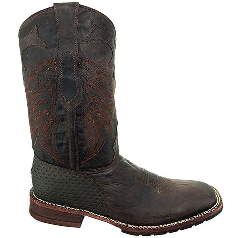 Soto Boot's Rugged Square Toe Cowboy Boots H4009 Brown Square Toe Boots Side