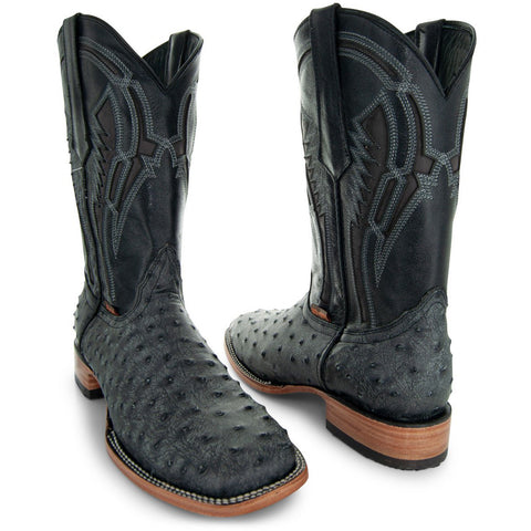Soto Boots Mens Out of the Wild Black Ostrich Print Boots H50031 - Soto Boots
