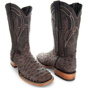 Soto Boots Mens Out of the Wild Brown Ostrich Print Boots H50031 - Soto Boots