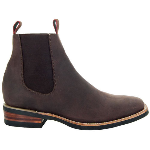 Soto Boots Men's Square Chelsea Ankle Boots M6001-Dark Brown