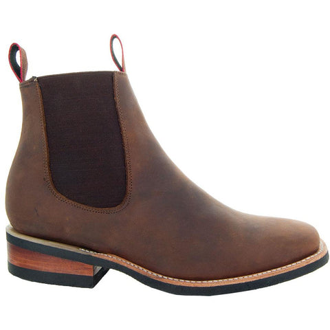Soto Boots Men's Square Chelsea Ankle Boots M6001-Brown