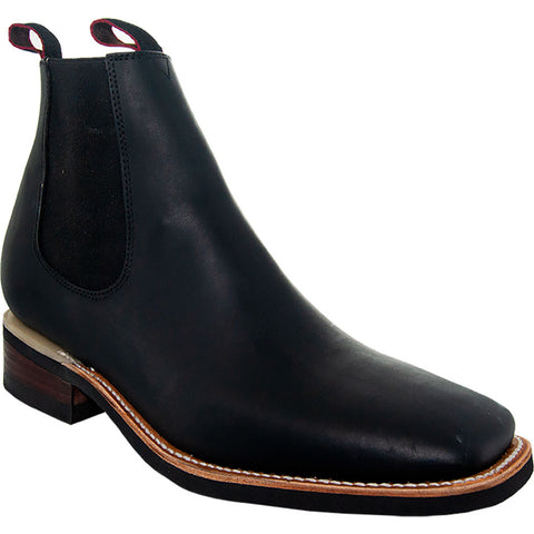 Chelsea Square Toe Ankle Boots (Men's Leather Chelsea Boots)