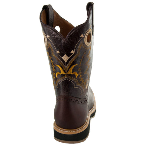 Brown Square Oil Resistant Toe Western Work Boots with Rubber Sole Back