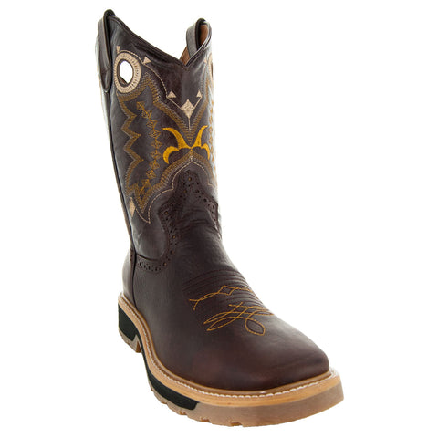 Brown Square Oil Resistant Toe Western Work Boots with Rubber Sole