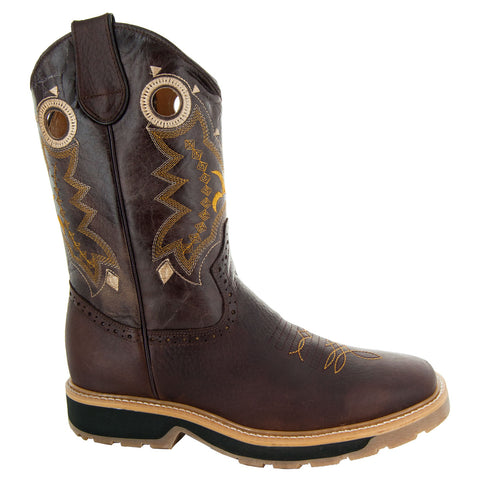 Brown Square Oil Resistant Toe Western Work Boots with Rubber Sole Side View