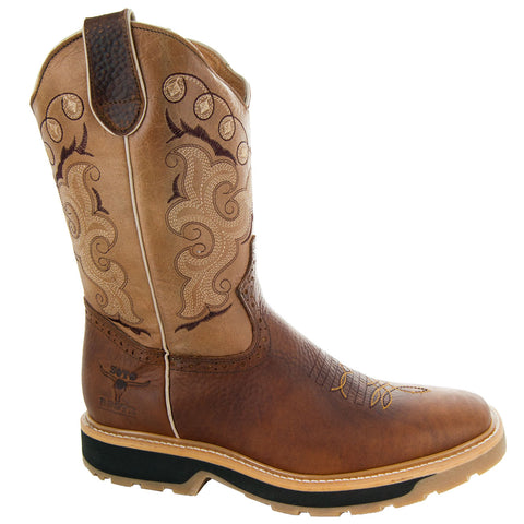 Tan Square Oil Resistant Toe Western Work Boots with Rubber Sole Side View