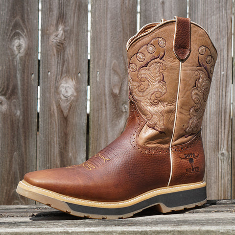 Tan Square Oil Resistant Toe Western Work Boots with Rubber Sole