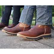 Man Wearing Tan Square Toe Work boots H6002 with Blue Jeans