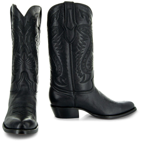 Pair of black cowboy boots H7001 Mens Round Toe Western Boots