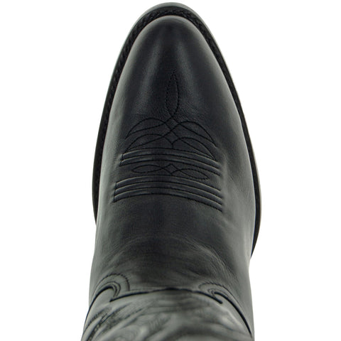 Close up of Round Toe Oval Shaped Cowboy boot toe in Black