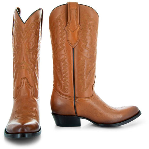 Pair of tan cowboy boots H7001 Mens Round Toe Western Boots