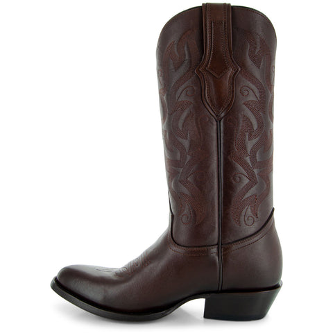 Cowboy Dress Boots | Mens Classic Round-Toe Boots (H7001-Brown) - Soto Boots