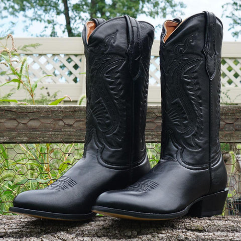Lifestyle Shot of Mens Round Toe Cowboy Boot in black
