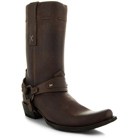 Harness Cowboy Boots | Mustang Brown Suede Boots for Men (H7003) - Soto Boots