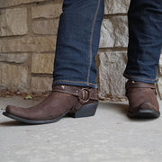 Harness Cowboy Boots | Mustang Brown Suede Boots for Men (H7003)