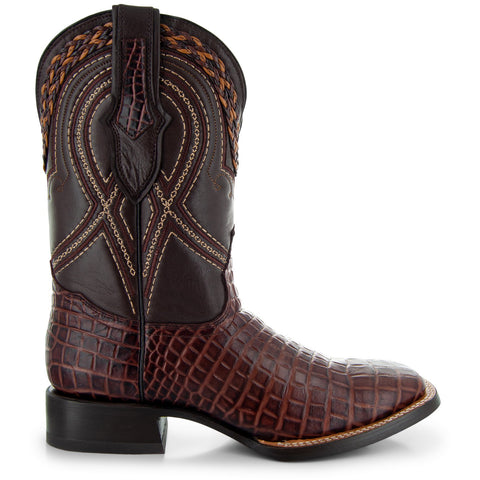 Men's Pair of Square Toe Caimin Print Boots in Brandy