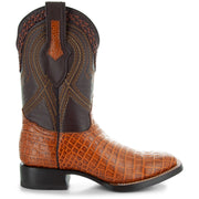 Men's Pair of Square Toe Caimin Print Boots in Miel
