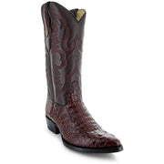 Men's Pair of Round Toe Caimin Print Boots in Miel