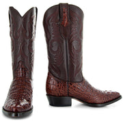 Men's Pair of Round Toe Caimin Print Boots in Cognac
