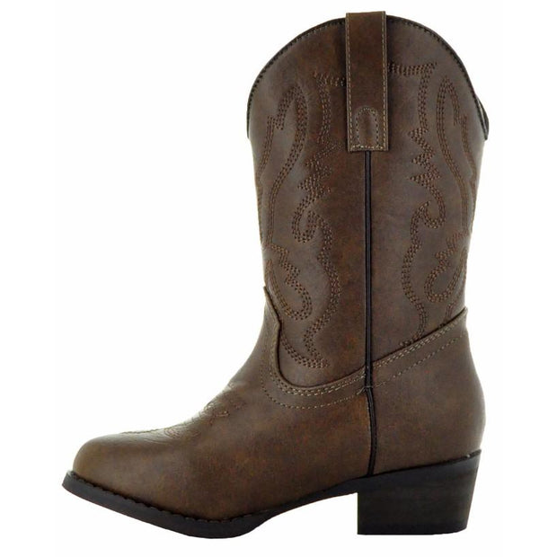 Round Toe Brown Cowboy Boots for Toddler-Brown