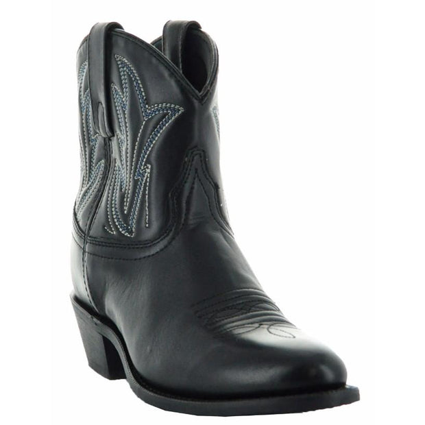 Janis Women's Ankle Cowgirl Boots-Black