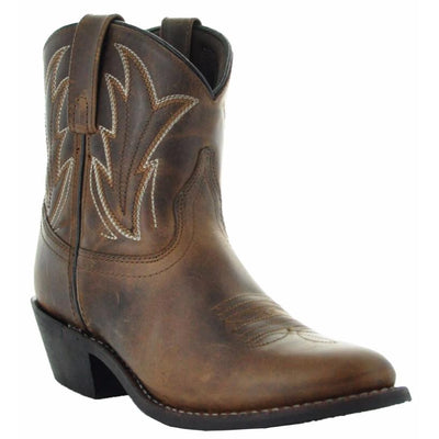 Janis Women's Ankle Cowgirl Boots-Brown