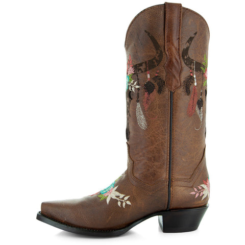 Longhorn Women's Cowgirl Boots with floral embroidery design