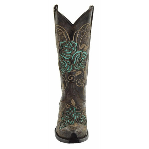 Soto Boots Turquoise Rose Cowgirl Boots