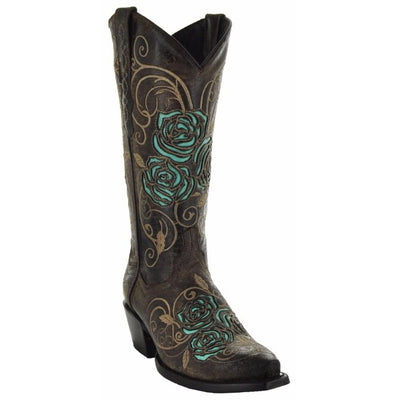 Soto Boots Turquoise Rose Embroidered and Inlay Cowgirl Floral Boots