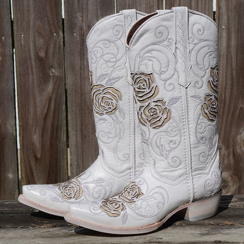 Soto Boots White and Gold Rose Cowgirl Wedding Boots