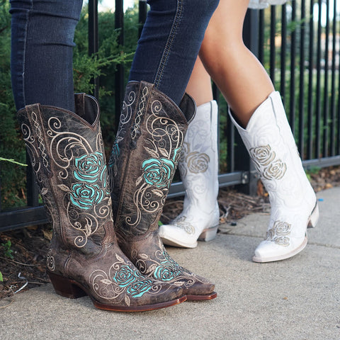 Girls wearing Brown and WhiteRose Embroidered and Inlay Cowgirl boots