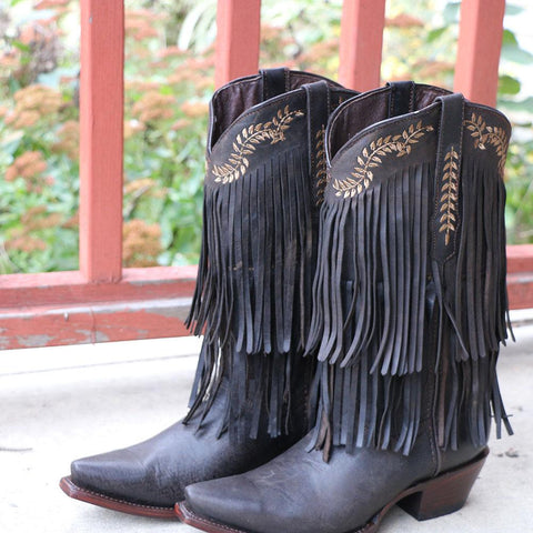 Women's Leather Fringe Snip Toe Cowgirl Boots