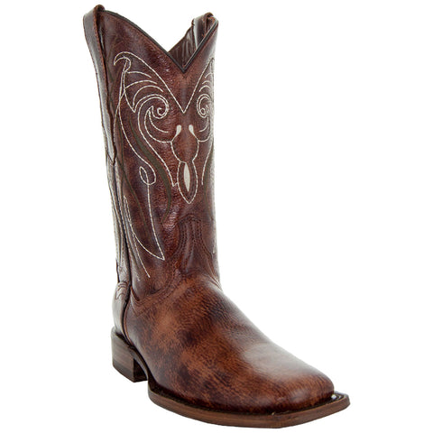 Soto Boots Broad Square Toe Brown Cowgirl Boot with White Embroidery and Leather Sole
