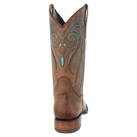Soto Boots Broad Square Toe Tan Cowgirl Boot with Turquoise Embroidery and Leather Sole Back View