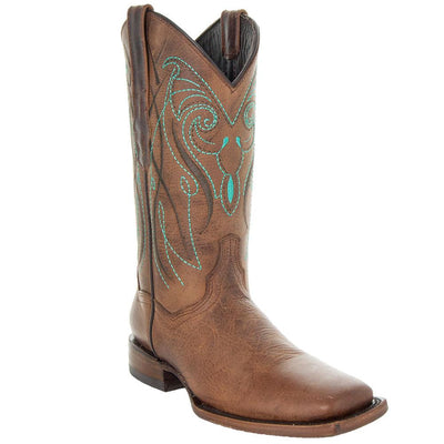Soto Boots Broad Square Toe Tan Cowgirl Boot with Turquoise Embroidery and Leather Sole