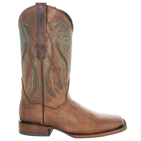 Soto Boots Broad Square Toe Tan Cowgirl Boot with Turquoise Embroidery and Leather Sole Side View